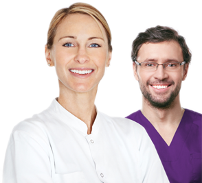 Picture of Female Dentist and male Dental Hygienist smiling